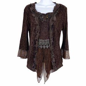 PRETTY ANGEL brown boho beaded lace sweater L